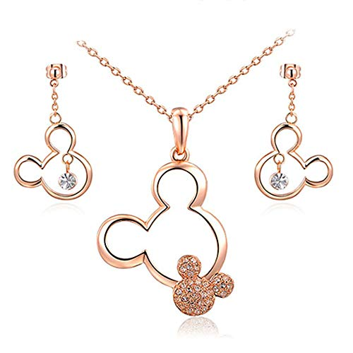 mi ji Rose Gold Plated Cute Mouse Necklace and Earring Set Crystal Necklace Earrings Jewelry Set for Girls Teens Women Christmas Birthday Gifts