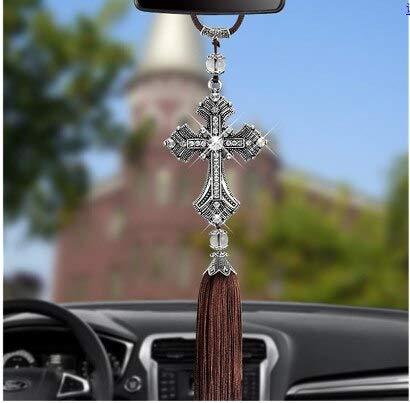 JINKEBIN Collares colgante de coche cruz Jesús adornos cristianos espejo retrovisor adornos colgantes suspensión interior decoración (color: plata)