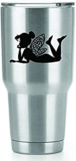 Tinkerbell Vinyl Decals Stickers ( 2 Pack!!! ) | Yeti Tumbler Cup Ozark Trail RTIC Orca | Decals Only! Cup not Included! | 2 - 4 X 2.3 inch Black Decals | KCD1239