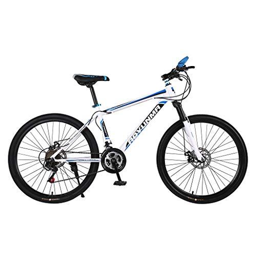 Kohlenstoffreicher Stahl Strong 26 Zoll Mountainbike Fully, geignet ab 150 cm-185cm, Scheibenbremse vorne und hinten, , Vollfederung, Jungen-Herren Fahrrad, mit Vorder- und Hinterschutzblech (Blau)