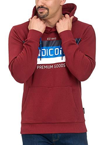 Indicode Herren Crescent Sweatshirt mit Kapuze | Warmer Hoodie sportlicher Kapuzenpullover modernes Kapuzensweatshirt Herrenpullover Hooded Sweater Pullover für Männer Tomato L