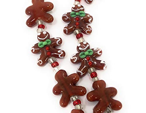 Christmas Cute Gingerbread Man Lampwork Glass Beads(Pack of 12 Beads)