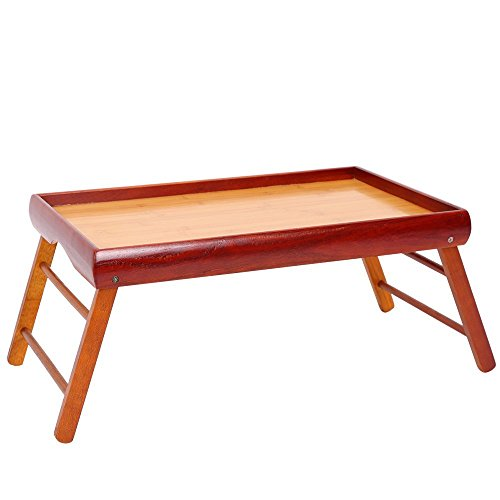 Dinner Tray - Wooden Breakfast in Bed Foldable Portable Serving TV Table with Stand - 20.5'