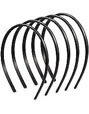 Ealicere 6 stks Plain Zwarte Hoofdbanden, Dunne Slanke Smalle Plastic Haarbanden, Alice Haar Hoop Gripper Tanden voor Mannen en Vrouwen (8mm Breed)