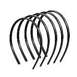 Ealicere 6 Pezzi Plastica Cerchietti Semplici Fasce per Capelli, Non-slip Teeth Cerchietti Hairband, Nero