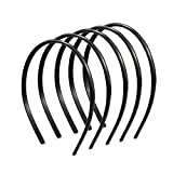 Ealicere 6 Piezas Liso Diademas de Plástico,Fina Diadema Plano con Dientes,Banda de Pelo Bucle de Pelo de Peine,Unisexo Negra Fina Diadema Plano(ancho 8mm)