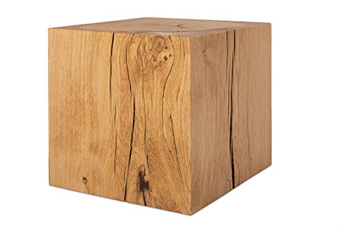 GREENHAUS Holzblock XXL Eiche Massiv 36x36x36 cm Handarbeit und Massivholz aus Deutschland Holzklotz Hocker Beistelltisch
