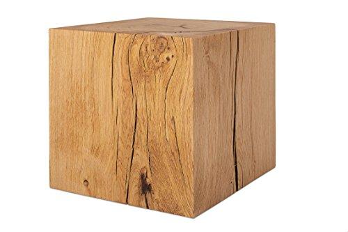 GREENHAUS Holzblock XXL Eiche Massiv 40x40x40 cm Handarbeit und Massivholz aus Deutschland Holzklotz Hocker Beistelltisch
