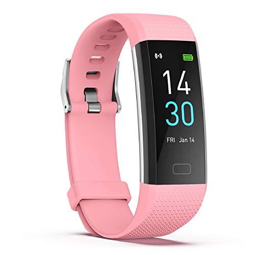 Fitness Watch, S5 Pulsera de medición de Temperatura de Segunda generación, Podómetro Fitness Watch IP68 Impermeable, Reloj de Seguimiento de Actividad con Monitor de frecuencia cardíaca (Polvo)