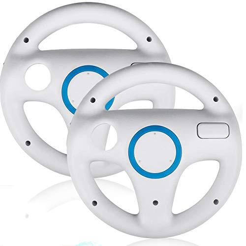 2 Stück Racing Lenkrad für Wii Fernbedienung,Surnous Wheel für Wii Kompatibel mit Wii Mario Kart Racing Wheel für Wii Game Lenkrad für Wii Mariokart Racing Spiele (Weiß)