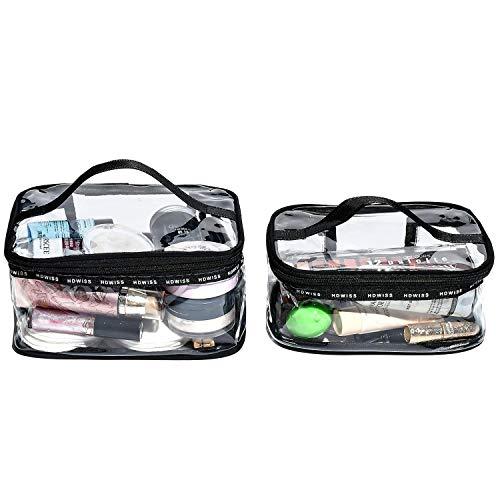 BeeViuc Beauty Case da Viaggio, Trousse Trasparente, Set da Viaggio per Cosmetici, Kit da Aereo per Liquidi, Sacchetti di Trucco di viaggio PVC per Uomini e Donne - 2 Busta da Viaggio Trasparent