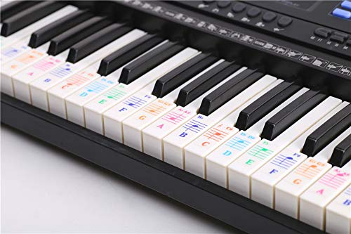 Cheap KLJKUJ Colorful 88 Key Electronic Keyboard Piano Stave Note Sticker for White Keys