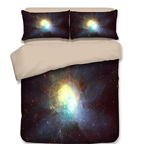 Evvaceo Juego de cama infantil 3 piezas funda nórdica Fantasy Starry Sky 220 cm x 230 cm con 2 fundas de almohada 3D (king)