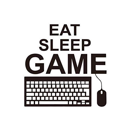 Eet Slaap Spel Citaat Muurstickers Decal PC Gaming Toetsenbord Muis Controller Gamer Speelkamer Jongen Slaapkamer Decor 55X55 CM