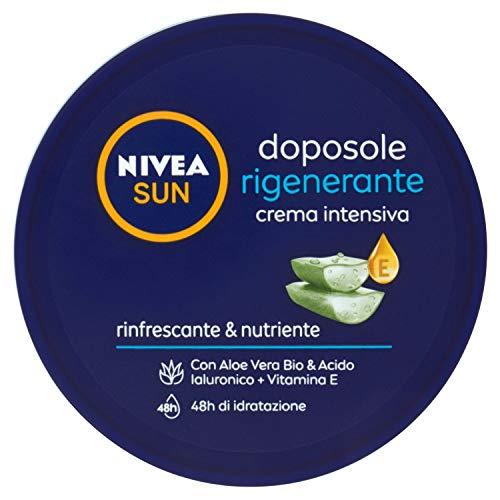NIVEA SUN Crema Doposole Intensiva Rigenerante 300 ml, Crema Nutriente Corpo con Aloe Vera Bio, Acido Ialuronico e Vitamina E, Crema Corpo Rinfrescante e Idratante