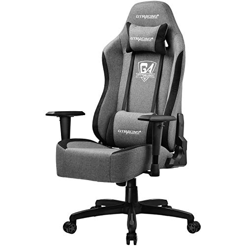 GTRACING Gaming Chair Office Chair High Back Fabric Computer Chair Desk Chair Pc Racing Executive Ergonomic Adjustable Swivel Task Chair and Headrest,Gray