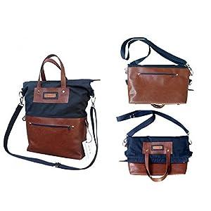 Wasserdichte Blau-braune Tote Bag mit Reißverschluss 3 in 1. Imprägnierte Tasche mit schultertaschenfunktion. Oil-skin…