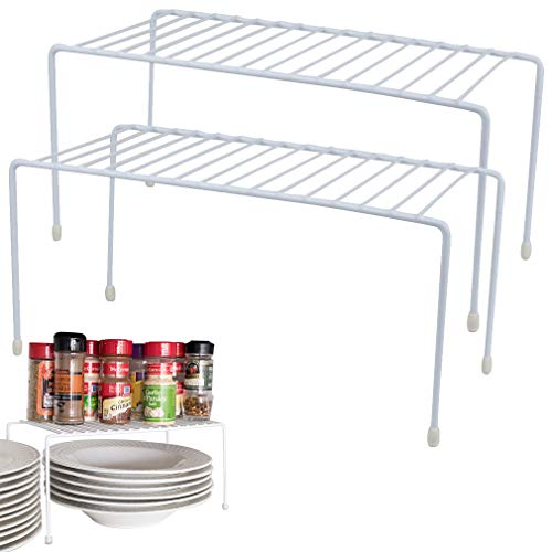 Evelots Kitchen Cabinet/Counter Shelf-Organizer-Double Space-Sturdy Metal-Set/2