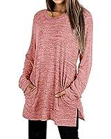 SHIBEVER Womens Tunic Sweatshirts Long Sleeve Tunic Tops Casual Side Split T Shirts With Pocket Red XL