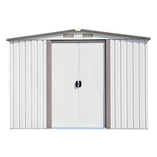 Kinsuite Outdoor Garden Storage Shed Tool Shed for Backyard Metal Utility Heavy Duty Tool House, W/Sliding Door, 8' x 6', White