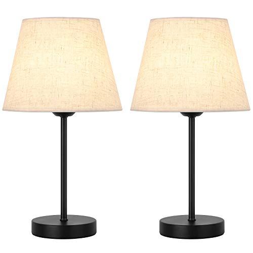 2er Set Kleine Tischlampe, Mini Leselampe mit Stoffschirm und Metallbasis, 2er-Nachttischlampe für Schlafzimmer, Wohnzimmer, Mädchenzimmer Einfach Dekoration
