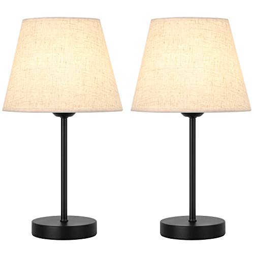 Juego de 2 lámparas de mesa pequeñas de lectura con pantalla de tela y base de metal, lámpara de 2 mesillas de noche para dormitorio, salón, habitación de niñas, decoración sencilla