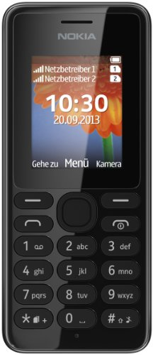 Nokia A00014805 108 Handy (4,6 cm (1,8 Zoll) QQVGA-Bildschirm, 160 x 128 Pixel, UKW-Radio, VGA Kamera ohne Blitz, Dual-SIM) schwarz