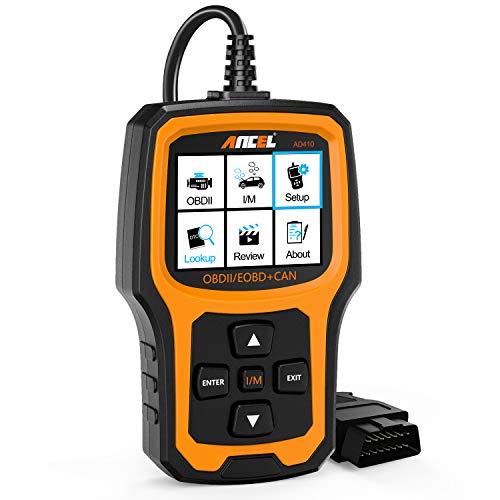 ANCEL AD410 OBD II Automobile Lecteur de Code Véhicule Vérifier la Lumière du Moteur Outil de Numérisation Auto OBD2 Scanner avec la Disponibilité I/M (Orange)