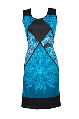 Filosophie Wunderschönes Ethno Kleid mit Mandala Muster und femininem Rückenausschnitt - 100{9bb5067259b29e3373ebe5a889aad56023dfd3ee626201d58c8646b19cfb9a52} Baumwolle - Casual Chic - Suki (S/M)