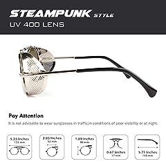 Polarised Sunglasses for Women Men Steampunk Retro Round Unisex Eyewear Glasses UV400,2020 New Trendy Side Shield Goggles Gothic Sun Gasses Silver Frame Blue Mirrored Lens CGID #2