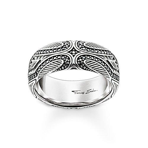 Thomas Sabo anillo de las mujeres maoríes 925plata de ley, circonitas Pave negro ennegrecido tr2101–643–11, Plata-esterlina, silver, black, 52