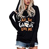 Siviki Women's Halloween Lantern Ghost Pumpkin Shirts Hooded Long Sleeves Tops Long Sleeve Printed Sweatshirt Pullover Black