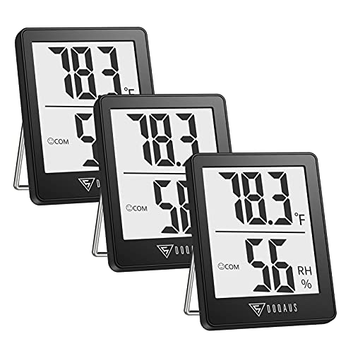 DOQAUS Indoor Thermometer [3 Pack], Humidity Gauge Room Thermometer for Home, Digital Hygrometer, Accurate Temperature Humidity Monitor Meter for House, Office, Greenhouse, Home Black (2.3X1.8inch)