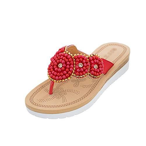PengGengA Zehentrenner Damen Sommer Böhmen Glitzer Perlen Sandalen Flip Flops Freizeit Flache Toe-Thong Sandals (Rot, 36 EU)