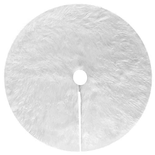 Henrey Tech Falda Árbol de Navidad 90cm Cubiertas de Base de Árbol de Piel Sintética Blanca Alfombra de Decoración Navideña