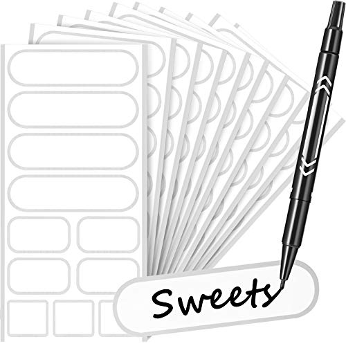 132 Pieces Removable Food Labels Stickers Waterproof Kitchen Labels for POP Food Storage, Home Organization with Marker Pen, 3 Sizes (Silver)