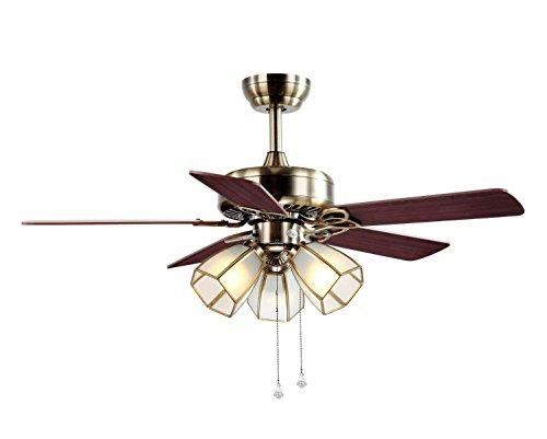 QMMCK Plafondventilator 42 inch 5 houten bladeren 3 15 W E27 lamphouder op afstand toerental kan vooruit en achteruit zijn.