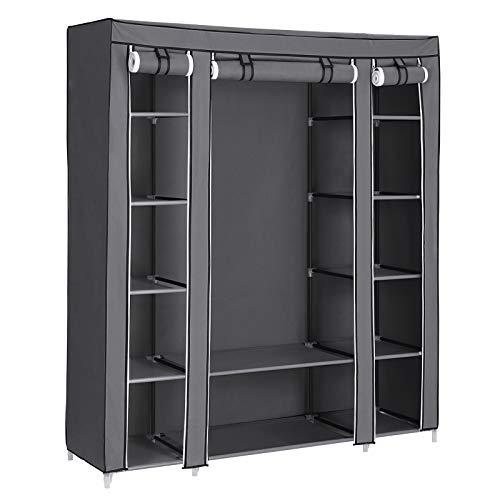 SONGMICS Kleiderschrank, Stoffschrank, mit Kleiderstange und Ablagen, Soffüberzug, für Schlafzimmer, Ankleidezimmer, 150 x 45 x 175 cm, grau LSF03G