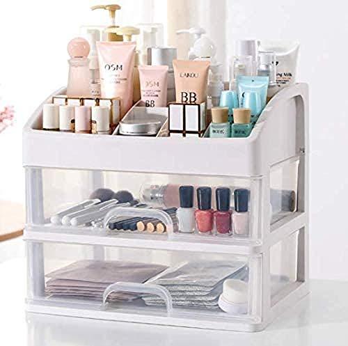 Boîte De Rangement De Maquillage Petite Taille Organisateur Cosmétique Tiroir Multicouche Transparent pour Salle Bain Chambre Coiffeuse,White-OneSize