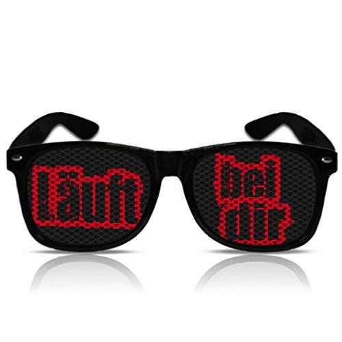 Läuft bei dir Party Atzen Sonnen Brille mit Spruch Läuft bei dir Jugendwort 2014 (Nerd schwarz)