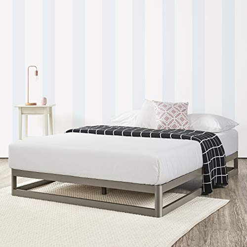Mellow 9 Inch Metal Platform Bed Frame W/Heavy Duty Steel Slat Mattress Foundation (No Box Spring needed) Grey