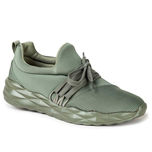 Qupid Ryder Sneakers for Women - Khaki Lycra Lace-Up Casual Walking Shoes - 7