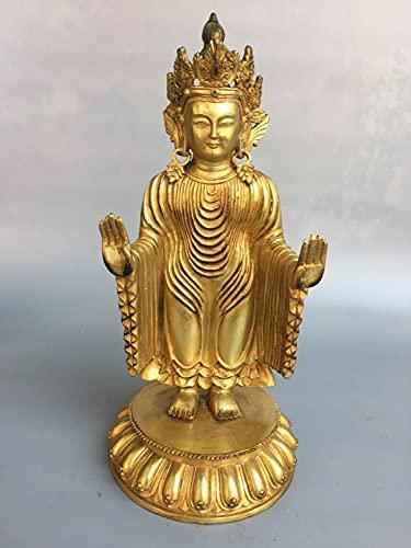 HUBINDAM Estatua de Buda Decoración Nepalés Monasterio Colección de latón Dorado Dorado Golden Wei Buda Estatuas Estatua de Avalokitesvara