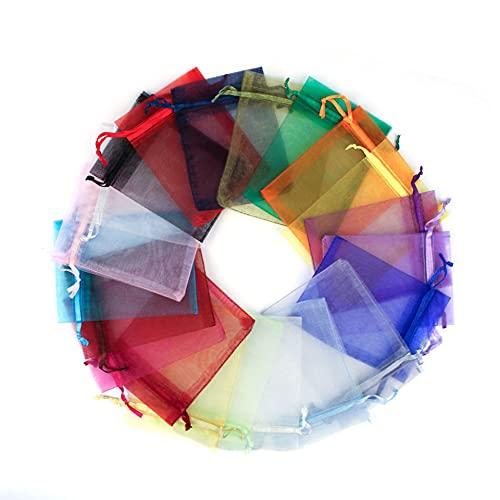 SonneSky 50pcs Bolsas de Organza 20x30cm Color Transparente Bolsas de Regalo para Favores de Fiesta de Boda y Envoltura de Joyas Color Mixto