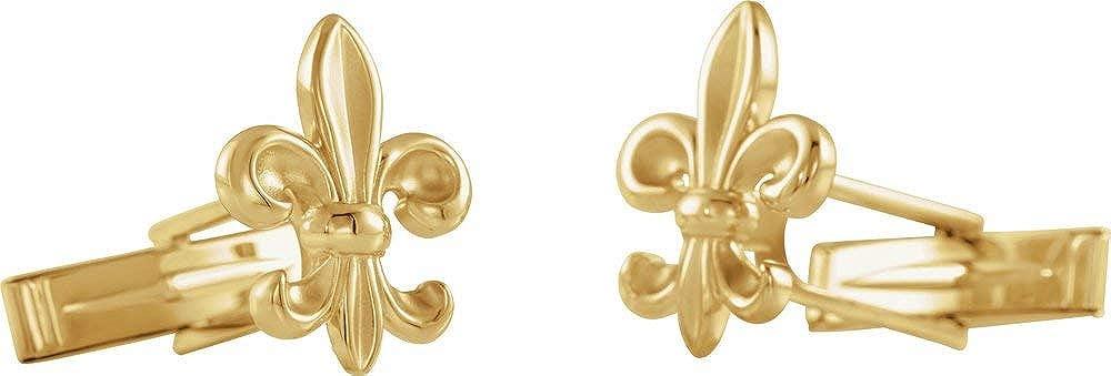 14k White Gold Fleur-de-Lis Men's Cuff Links