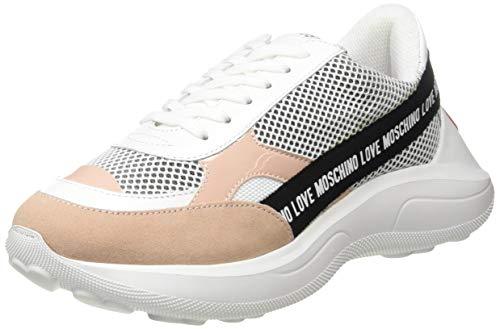Love Moschino Scarpad.running60 Rete+na.Lam+CR+SP, Chaussures de Gymnastique Femme, Blanc (White Calf 10a), 38 EU