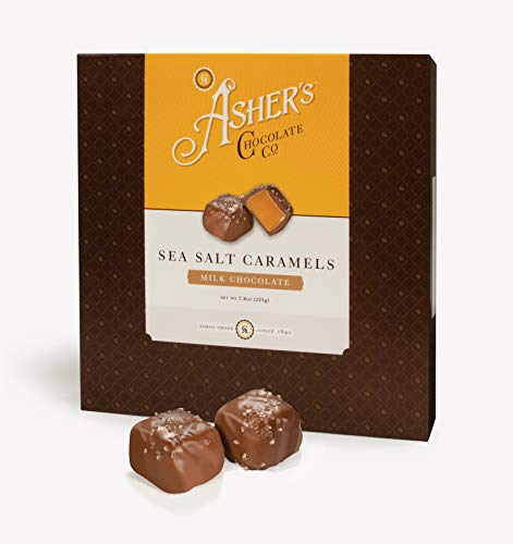 Asher's Chocolate, Chocolate Covered Sea Salt Caramels, Gourmet Sweet and Salty Candy, Small Batches of Kosher Chocolate, Family Owned Since 1892 (7.8 ounce, Milk Chocolate)