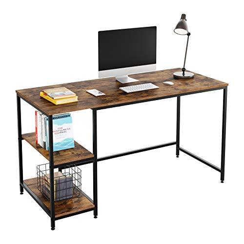 Homfa Schreibtisch PC-Tisch Computertisch mit Ablagen Bürotisch Arbeitstisch Holz Metall Vintage Schwarz Industrie Design 140x60x76cm (L x W x H)
