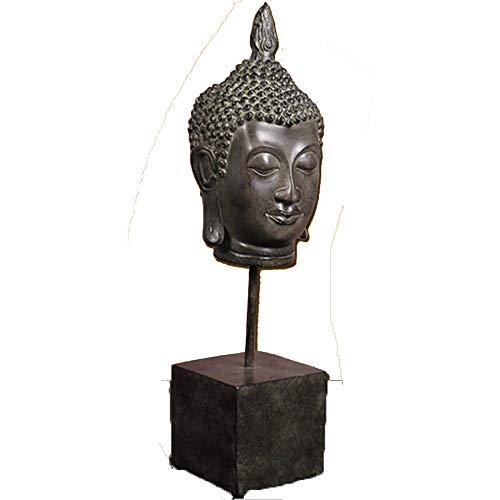 ZHZX Buddha Kopf handgefertigte Skulptur, Retro Imitation Kupfer Harz Statue Ornamente, für Innenraum dekorieren, 43cm hoch