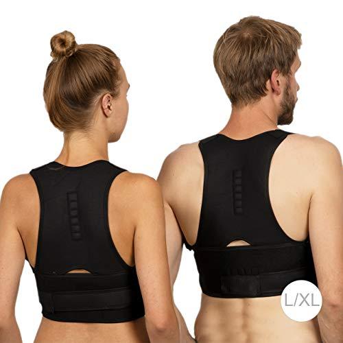 Relaxdays Haltungskorrektur Rücken, korrigierende Rückenstütze, Rücken Geradehalter, Damen & Herren, Größe S/M, schwarz